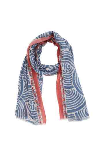 Blue And White Scarf With Spiral Pattern