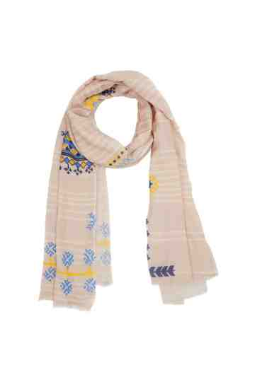 Beige White Stripe Scarf With Combo Pattern