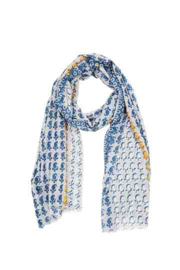 Blue White Scarf With Yellow Flower Border