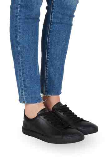Esplar Full Black Lace-Up Leather Sneakers