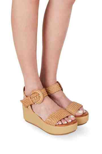 6.5cm Braided Taupe Leather Wedges