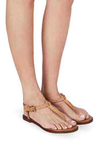 Tan Braided Leather Flat Sandals