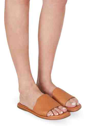 Tan Leather Flat Slippers