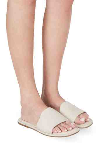 Ivory Leather Flat Slippers