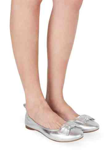 Silver Metallic Leather Ballerinas