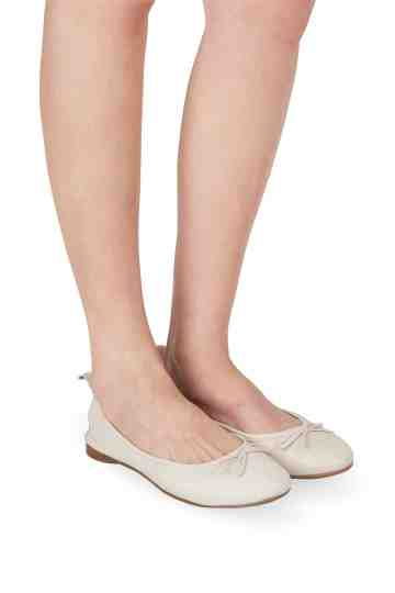 Ivory Leather Bow Tie Ballerinas