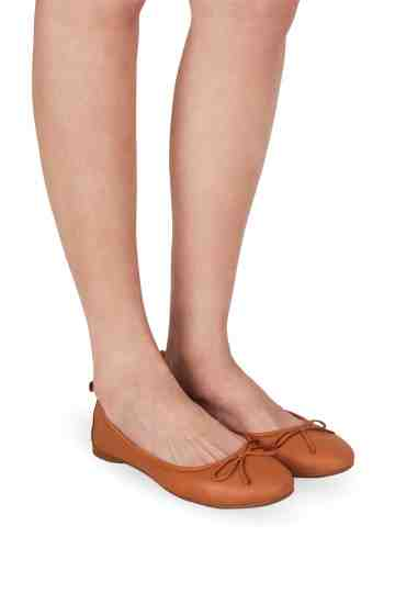 Brown Leather Bow Tie Ballerinas