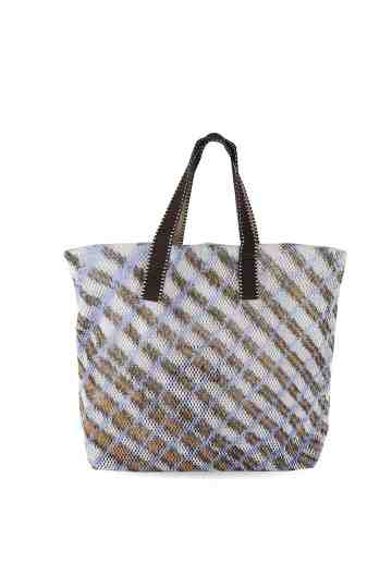 Violet Mesh Tote Bag Checkers