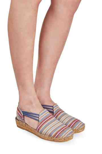 """Norma Texa"" 4cm Striped Canvas Wedge Espadrilles"