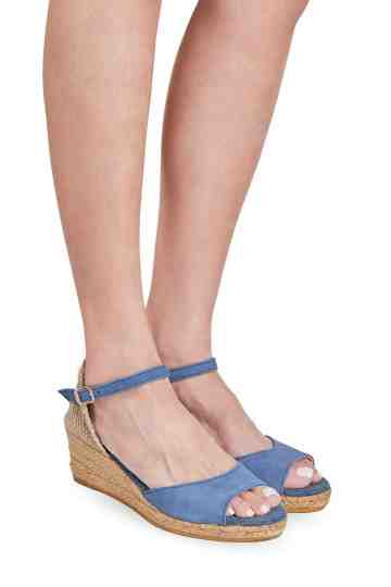 """Llivia Denim"" Suede Wedge Espadrilles"