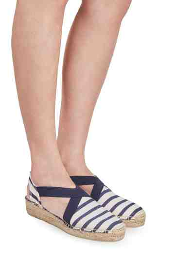 """Verges Cru Mari"" 4cm Striped Canvas Fabric Wedge Espadrilles"