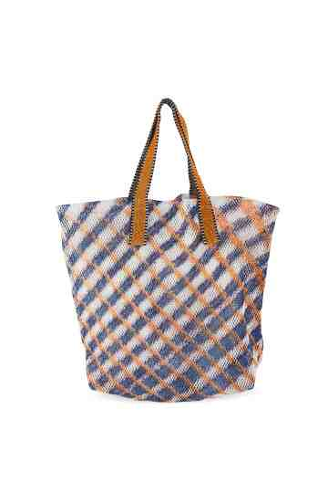 Orange Mesh Tote Bag Checkers