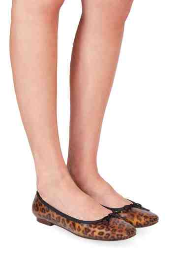 """Emma"" Square Toe Jelly Leopard Ballerinas"