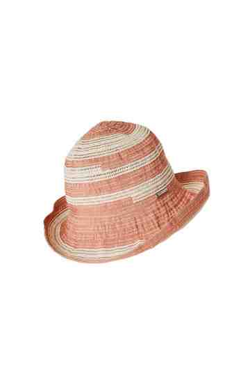 Coral Cotton Linen Grosgrain Hat With Cross Braid Strap Metal Finish