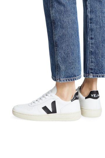V 10 White Black Perforated Leather Sneakers