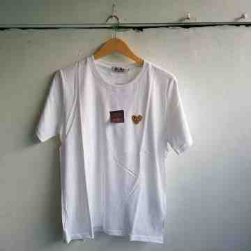 CDG Gold Heart Tee White