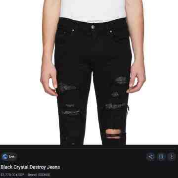 Amiri Black Crystal Destroy Denim Jeans
