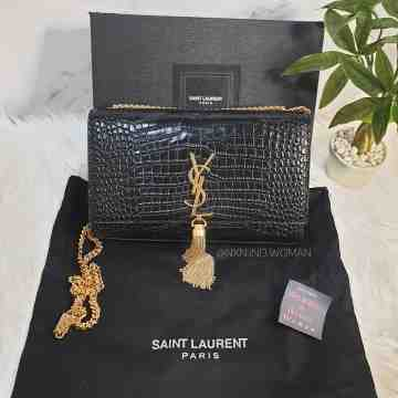Kate Medium with Tassel in Embossed Crocodile Shiny Leather / YSL Bag