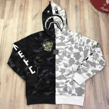Bape x NBHD Black White Shark Full Zip Hoodie