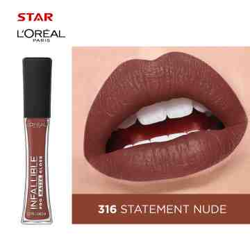 LOREAL INFALLIBLE PROM GLOSS-316 STATE NUDE