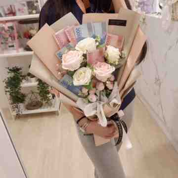 Money Bouquet with Artificial Flowers