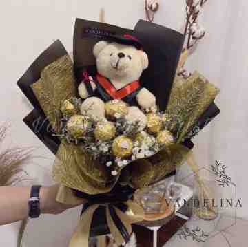 7 Ferreros with Dried Fillers & Teddy Bear Doll