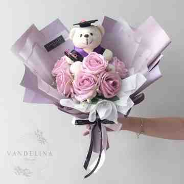 6 Artificial Roses with Graduation Teddy Doll - 1 Tone Colors