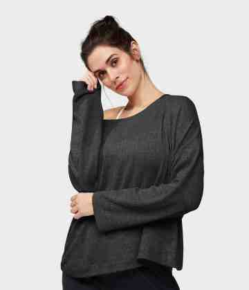 Boxy V-Neck Ribbed Pullover